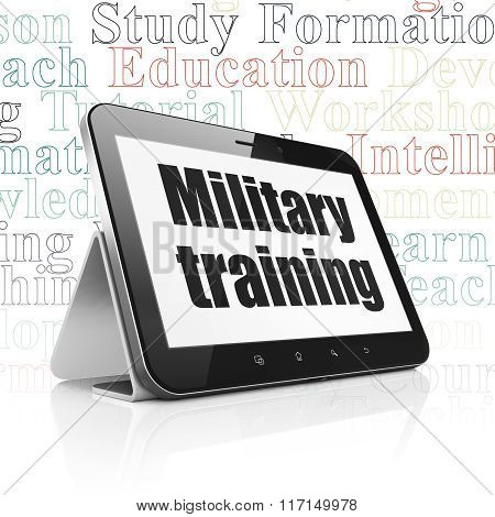 Education concept: Tablet Computer with Military Training on display
