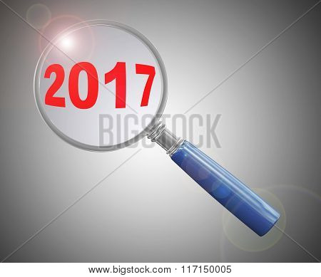 3D Magnifier Hovering Over Year 2017