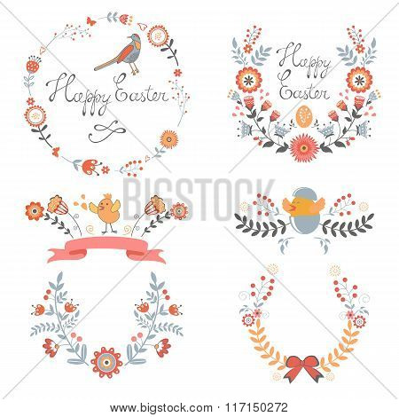 Colorful Easter related elements collection