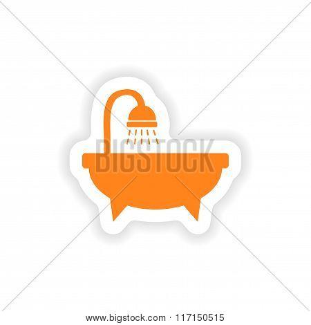 icon sticker realistic design on paper bathtub