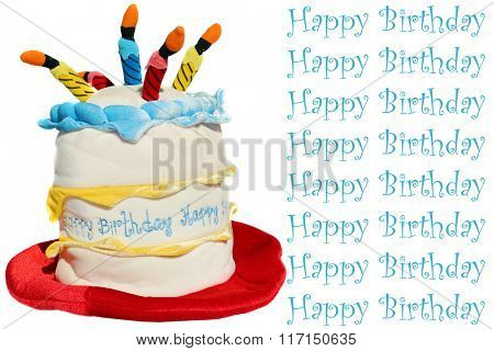 Funny Birthday Cake Hat isolated on white with room for your text.