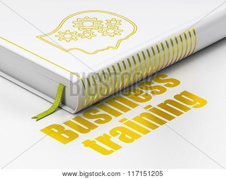 Studying concept: book Head With Gears, Business Training on white background