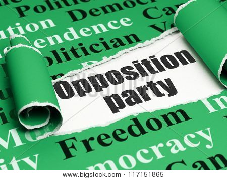 Political concept: black text Opposition Party under the piece of  torn paper