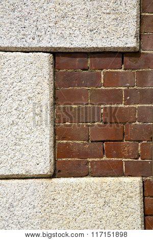 Santo Antonino   Italy    Abstract   Wall Of A Curch   Brike Pattern