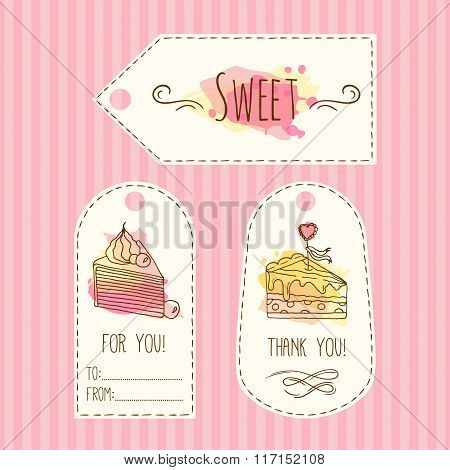 Tags with cake illustration. Vector hand drawn labes set with watercolor splashes. .