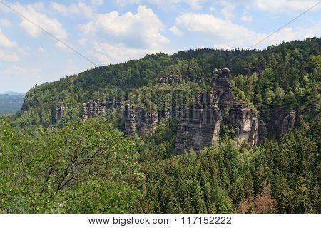 Hill Kleiner Winterberg At Rocks Affensteine In Saxon Switzerland