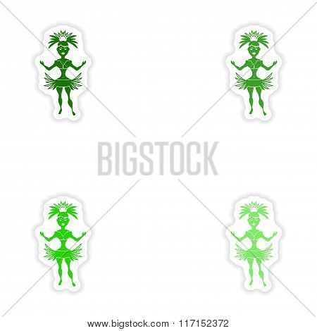 concept stylish paper sticker on white background Brazilian dancer
