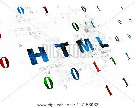 Database concept: Html on Digital background