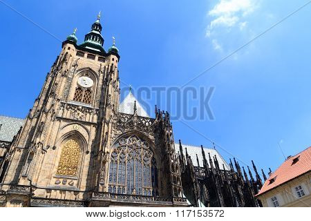 St. Vitus Cathedral Steeple In Prague Castle