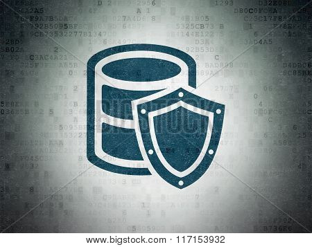 Software concept: Database With Shield on Digital Paper background