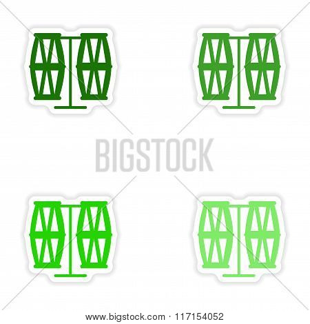 concept stylish paper sticker on white background Brazilian drums