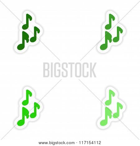 concept stylish paper sticker on white background musical notes