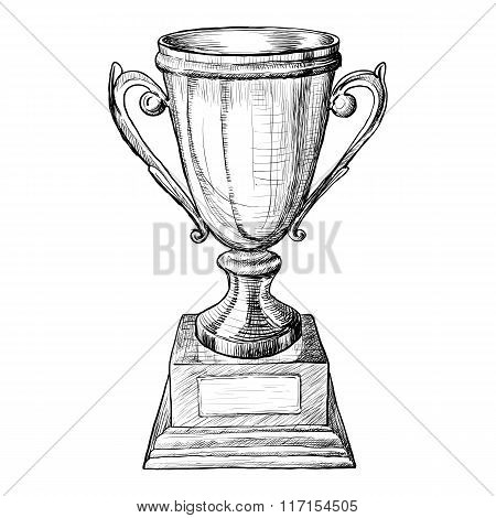 Vector Trophy Hand Draw Sketch