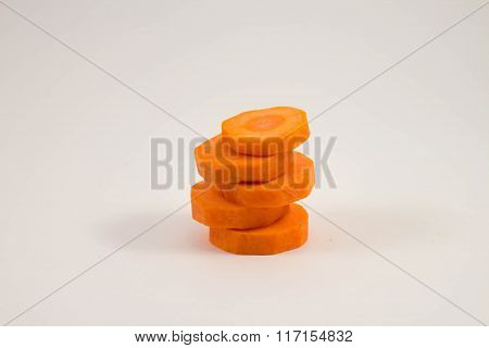 carrot slices on white background