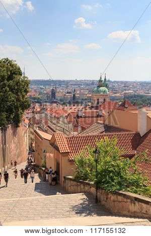 Stairs To Mala Strana (lesser Town) And St. Nicholas Church, Prague