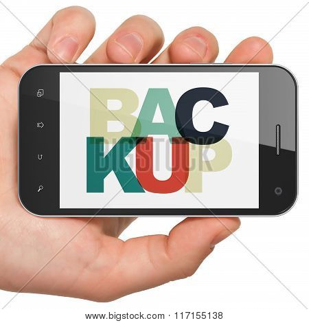 Software concept: Hand Holding Smartphone with Backup on  display