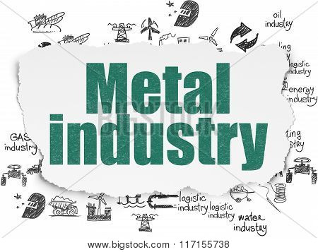 Industry concept: Metal Industry on Torn Paper background
