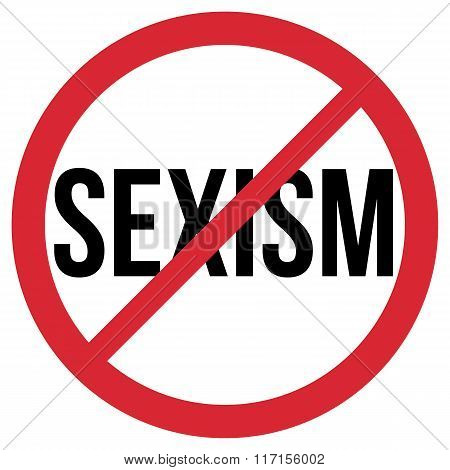 No Sexism Symbol, Red And Black Isolated Vector