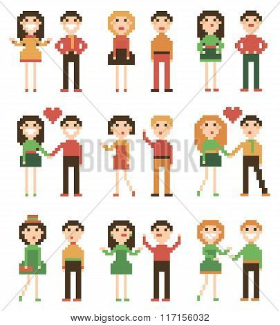 Set of pixel people.