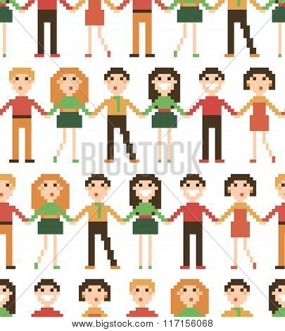 Seamless pattern with pixel people.