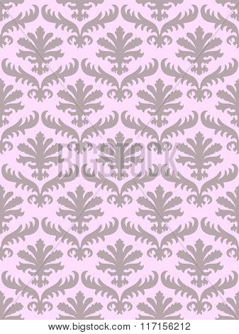 Vector Colorful Damask Seamless Floral Pattern Background. Color Trend Blush