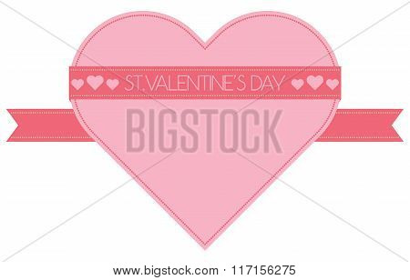Pink Heart With Ribbon St.valentine's Day, Isolated Vector