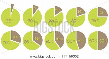 Vector Green And Brown  5, 10, 15, 20, 25, 30, 35, 40, 45, 50 Percent Pie Diagrams