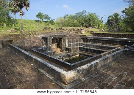 Ancient ruins of pools in the Royal goldfish Park. Anuradhapura, Sri Lanka
