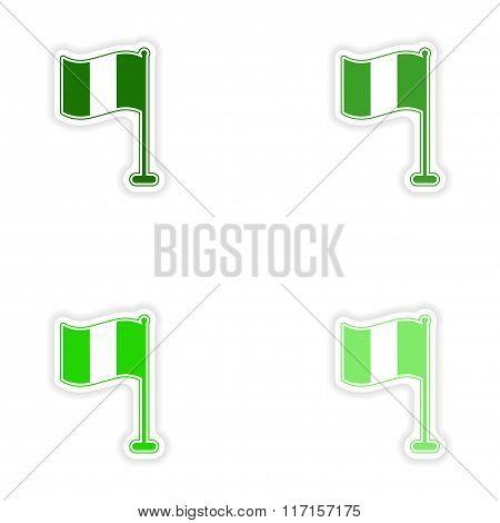 concept stylish paper sticker on white background flag Ireland