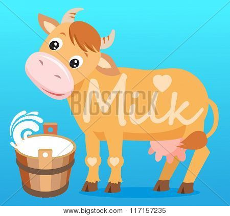 Cute Cartoon Cow In The Blue Background And Text