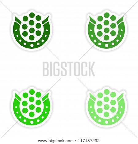 concept stylish paper sticker on white background horseshoe coins