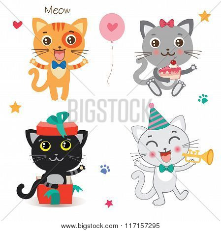 Set Of Cute Little Cats. Cartoon Animal. Vector Collection On A White Background. Cutie Cat Pictures. Cutie Cat Memes. Cutie Cat Drawing. Cat Costume. Cat As Pet. Cat As Toy.