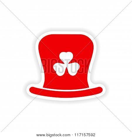 stylish paper sticker on white background Irish hat