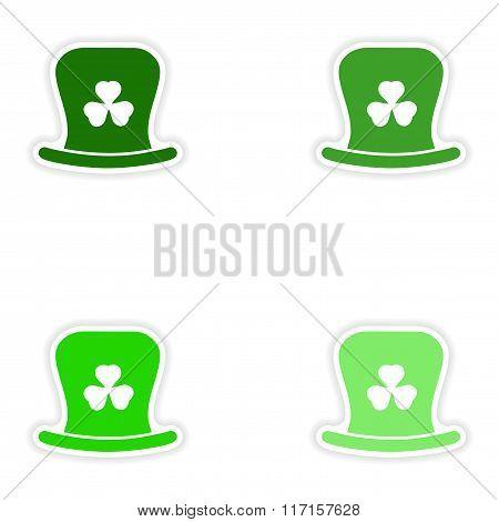 concept stylish paper sticker on white background Irish hat