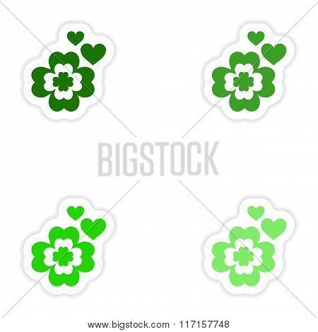 concept stylish paper sticker on white background clover