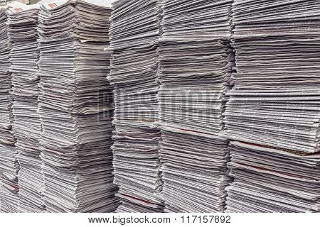 Many Newspaper Stacks