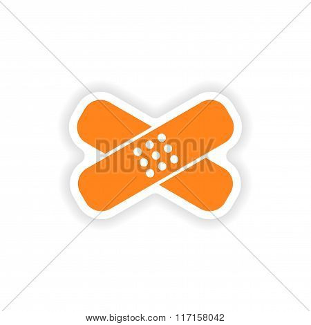 icon sticker realistic design on paper medical patch