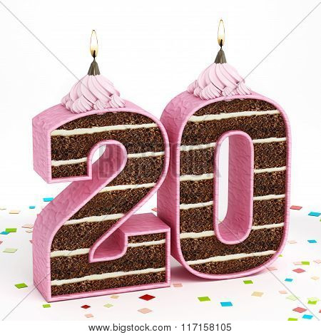 Number 20 Shaped Chocolate Birthday Cake With Lit Candle