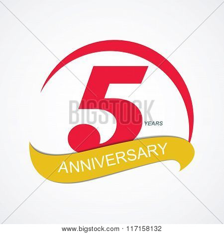 Template Logo 5 Anniversary Vector Illustration