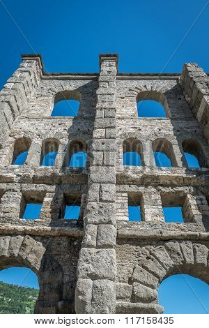 Ancient Roman Ruins In The City Of Aosta, Italy