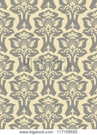 Vector Colorful Damask Seamless Floral Pattern Background. Color Trend Grey And Ivory