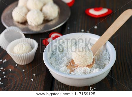 Homemade candy white chocolate with coconut. Coconut balls. Selective focus