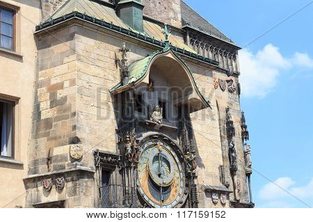 Old Town City Hall Astronomical Clock In Prague