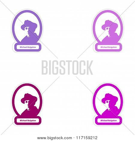 Set of paper stickers on white background Michael Bulgakov