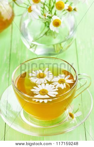 Chamomile Tea In Glass Cup
