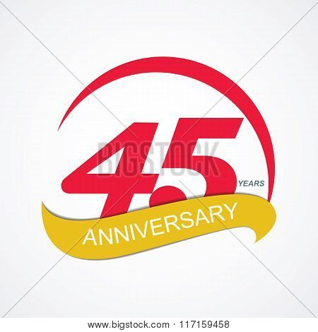 Template Logo 45 Anniversary Vector Illustration