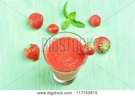 Strawberry Juice In Glass, Top View