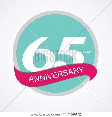 Template Logo 65 Anniversary Vector Illustration