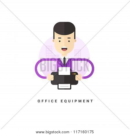 Flat Style Vector Conceptual Illustration. Businessman With Printer. Office Equipment