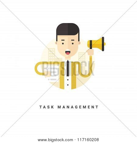 Flat Style Vector Conceptual Illustration. Businessman With Speaker. Task Management